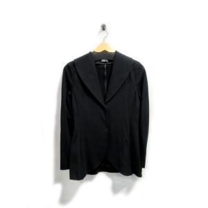 美品 ペニープル ジャケット レディース ジャージ素材 ペプラム 黒 サイズ 8 中古|lucio