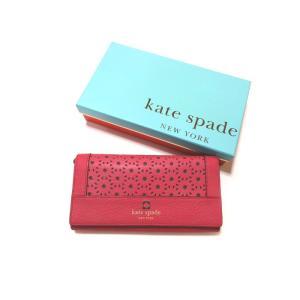 美品 ケイトスペード 財布 長財布 二つ折り レディース レザー 型抜き ピンク 中古|lucio