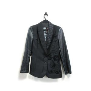 美品 デシグアル ジャケット テーラード レディース ショールカラー 刺繍 黒 38 中古|lucio