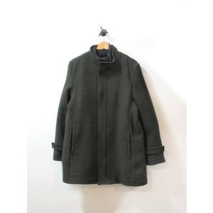 美品 コムサイズム コート メンズ ロング スタンドカラー グリーン L 中古|lucio