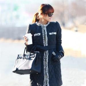 コート ワンピース キルティング 黒 Mサイズ|lucio