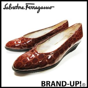 フェラガモ 靴 パンプス レディース レザー クロコ型押し ワイン サイズ7 24.5 中古