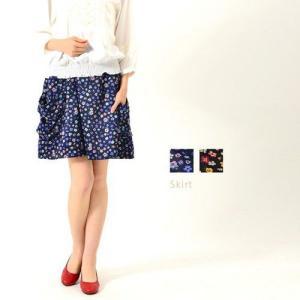 スカート 大きいサイズ ウエストゴム花柄プリントスカート M〜7L|lucio