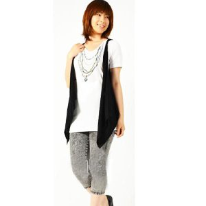 ベスト付きビジュー柄プリントTシャツ【M〜3L】|lucio