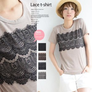 【メール可】大人の繊細レース付きデザインTシャツ【M】|lucio