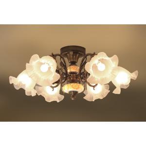 スペイン製 古美色メッキ ハンドペイント陶器真鍮6灯シーリングシャンデリア AKL201-H6-252-LED|luciva