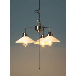 レトロ&モダンインテリアに! 明治28年創業後藤照明 GLF-3368X カプリコーン(乳白P1・3灯用CP型BR) 電球なし (glf3368x)|luciva