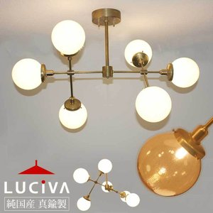 SSL206-A シバタ照明オリジナル インダストリアルライト アンバーガラス  / 真鍮生地6灯シーリングライト(ランプ別売)|luciva
