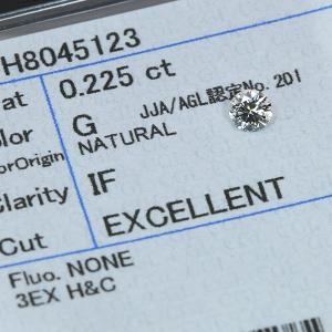 ダイヤモンド 0.225カラット ルース loose G IF 3EXCELLENT H&C ソーティング付 /白・透明(ホワイト)/ダイヤモンドルース/リフォーム エンゲージ 空枠/