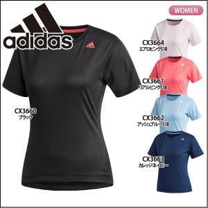 アディダス adidas レディース 半袖Tシャツ ワンポイント ロゴ EUD14 ランニング ジョギング|lucksports