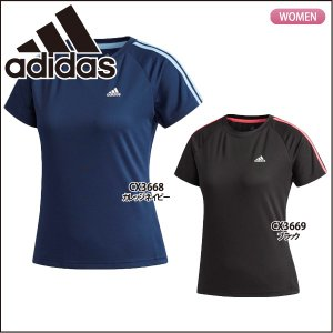 アディダス adidas レディース 半袖Tシャツ 3ストライプ EUD16 ランニング ジョギング|lucksports