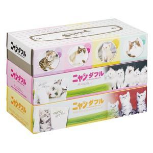 ニャンダブル BOX ティッシュ 150W 3個組 72個販売 猫大集合 猫好きに ピッタリ 販促品 粗品 ※商品代引不可|lucky-merci