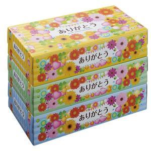 ありがとう BOX ティッシュ150W 3個組 72個販売 感謝の気持ち 日頃のお礼に 販促品 粗品 ※商品代引不可|lucky-merci