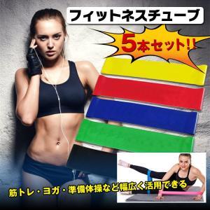 フィットネスチューブ 5本セット 種類 負荷 筋トレ ヨガ 準備 体操 肩こり 腰痛 リハビリ 体幹 de041|lucky9