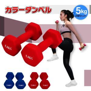 ダンベル 5kg 2個セット カラー トレーニング 筋トレ 男性 女性 鉄アレイ ブルー レッド de094|lucky9