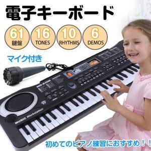 キーボード ピアノ 61鍵盤 電子 楽器 初心者 入門用 おもちゃ マイク 歌う 弾き語り バンド 録音 演奏 練習 デモ曲 リズム 音楽 知育玩具 mu002|lucky9