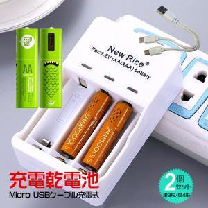 乾電池 単四 単三 充電 2本セット マイクロ usb ケーブル ニッケル水素 ランプ 繰り返し 節約 家電 マウス おもちゃ ゲーム機 マイク ny013 lucky9