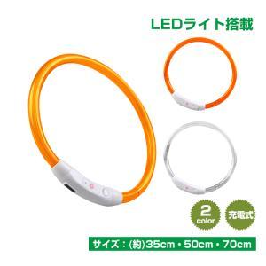 犬用首輪 カラー 光る LEDライト 夜 散歩 長さ調整可 常時点灯 点滅 USB充電 ペット 35cm 50cm 70cm 小型犬 中型犬 大型犬 安全 pt032|lucky9