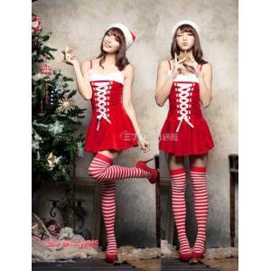 サンタ コスプレ サンタクロース コスチューム セクシー衣装 クリスマス 編み上げ ベアトップワンピース sd018|lucky9