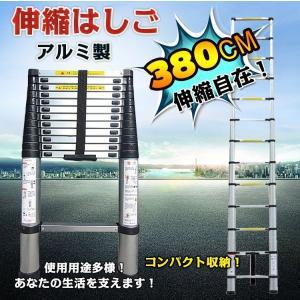 伸縮 伸縮梯子 はしご 3.8m 梯子 折り畳み アルミ製 11段階 13ステップ パワフルラダー アルミはしご コンパクト zk096 lucky9