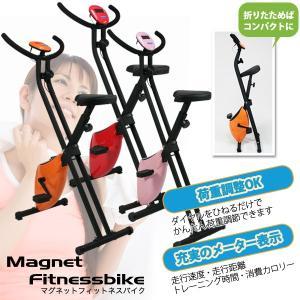 フィットネスバイク マグネットバイク 折り畳み式 エクササイズバイク 静音 ダイエット ###バイクB-717H###|luckycraft-sp