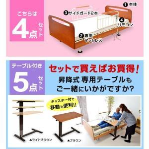 レビューで1年補償 電動ベッド 介護ベッド 電動 リクライニング 電動3モーターベッド てがる(サイドテーブル付き)-ART 開梱設置付き|luckykagu|10