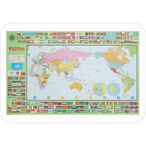 コンパクト デスクマット 〔世界地図〕 幅51cm×奥行34cm 日本製 反射防止 光学マウス対応 ...
