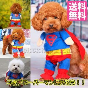 送料無料 ペット用 コスプレ スーパーマン ペットウェア コスチューム 小型犬 仮装 二足歩行 ハロウィン ドッグウエア LP-09の画像