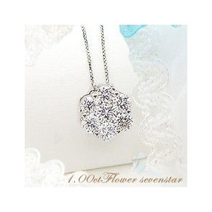 K18 1.0ctフラワーダイヤモンドペンダントネックレス『TranFleur』
