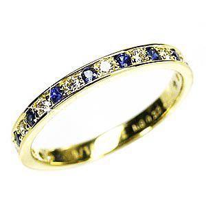 リング エタニティリング ダイヤモンド サファイア 結婚指輪 鑑定書 k18ゴールド|luire-jewelry