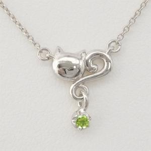 ネックレス ペリドット 一粒  誕生日 プラチナ900 ネコ ペンダント 猫 キャット  ネックレス プレゼント ギフト|luire-jewelry