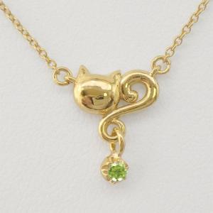 ネックレス ペリドット  一粒石 k18ゴールド 18金 ネコ ペンダント 猫 キャット  ネックレス  誕生日 プレゼント ギフト|luire-jewelry