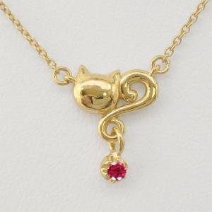 ネックレス ルビー  一粒石 k18ゴールド 18金 ネコ ペンダント 猫 キャット  ネックレス  誕生日 プレゼント ギフト|luire-jewelry