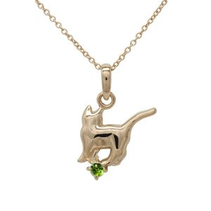 ネックレス 【8月誕生石】ペリドット 一粒 ネコ ペンダント 猫 キャット 18金 ネックレス 誕生日 プレゼント ピンクゴールド|luire-jewelry
