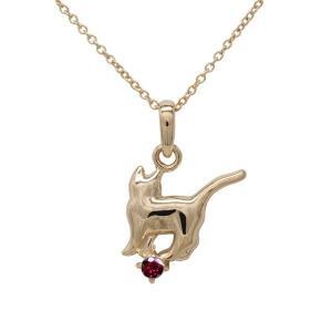 ネックレス 18金 ルビー 一粒 ネコ ペンダント 【誕生石】猫 キャット ネックレス 誕生日 プレゼント ピンクゴールド|luire-jewelry