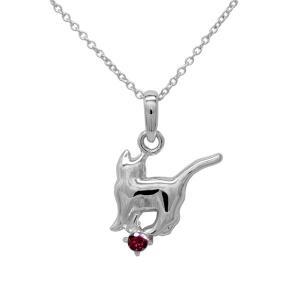ネックレス プラチナ ルビー 一粒 ネコ ペンダント 【誕生石】猫 キャット ネックレス 誕生日 プレゼント|luire-jewelry