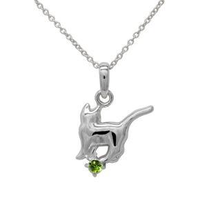 ネックレス 【8月誕生石】ペリドット 一粒 ネコ ペンダント 猫 キャット 18金 ネックレス 誕生日 プレゼント ホワイトゴールド|luire-jewelry