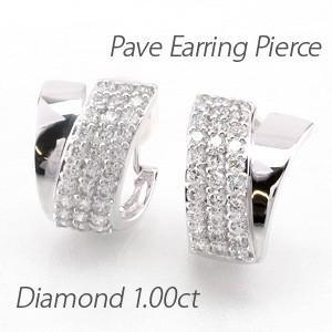 ダイヤモンド イヤリング レディース クリップ ピアス プラチナ 900 パヴェ 1.00ct V字|luire-jewelry