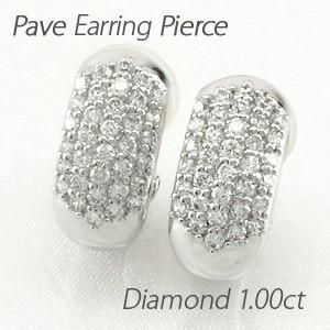 ダイヤモンド イヤリング レディース クリップ ピアス プラチナ 900 パヴェ 1.00ct|luire-jewelry