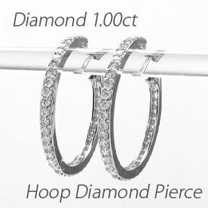 ダイヤモンド ピアス フープ ゴールド 18k 中折れ エタニティ 18金 K18|luire-jewelry