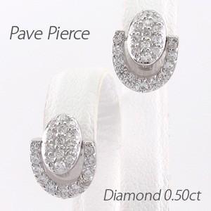 ピアス ゴールド 18k ダイヤモンド パヴェ オーバル 馬蹄 ホースシュー 揺れる0.50ct 18金|luire-jewelry