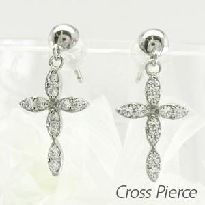 ピアス ゴールド 18k ダイヤモンド クロス 十字架 マーキス 揺れる 18金 K18 WG luire-jewelry