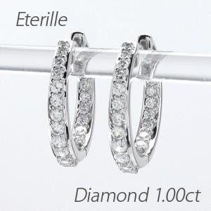 ダイヤモンド ピアス フープ プラチナ 900 中折れ|luire-jewelry