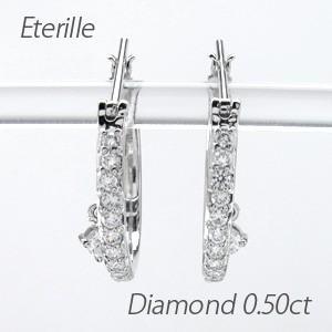 ダイヤモンド ピアス フープ プラチナ 900 中折れ クロッシング 揺れる 一粒|luire-jewelry