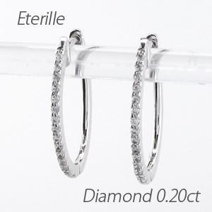 ダイヤモンド ピアス フープ プラチナ 900 中折れ エタニティ オーバル スレンダー|luire-jewelry
