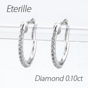 ダイヤモンド ピアス フープ ゴールド 18k 中折れ エタニティ スレンダー|luire-jewelry