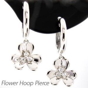 ダイヤモンド ピアス フープ プラチナ 900 フラワー 中折れ 揺れる|luire-jewelry