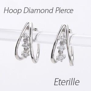 ダイヤモンド ピアス フープ プラチナ 900 中折れ 揺れる スリーストーン オーバル|luire-jewelry
