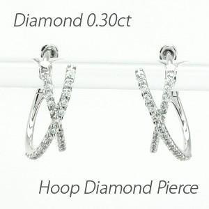 ダイヤモンド ピアス フープ ゴールド 18k 中折れ オーバル クロス 2連 18金 K18|luire-jewelry
