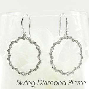 フックピアス ゴールド 18k ダイヤモンド アンティーク ミル サークル18金揺れる luire-jewelry